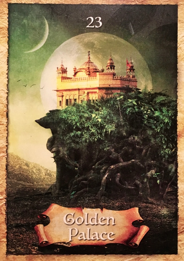 Golden Palace, from the Enchanted Map Oracle Card deck, by Colette Baron-Reid, Artwork by Jenna DellaGrottaglia