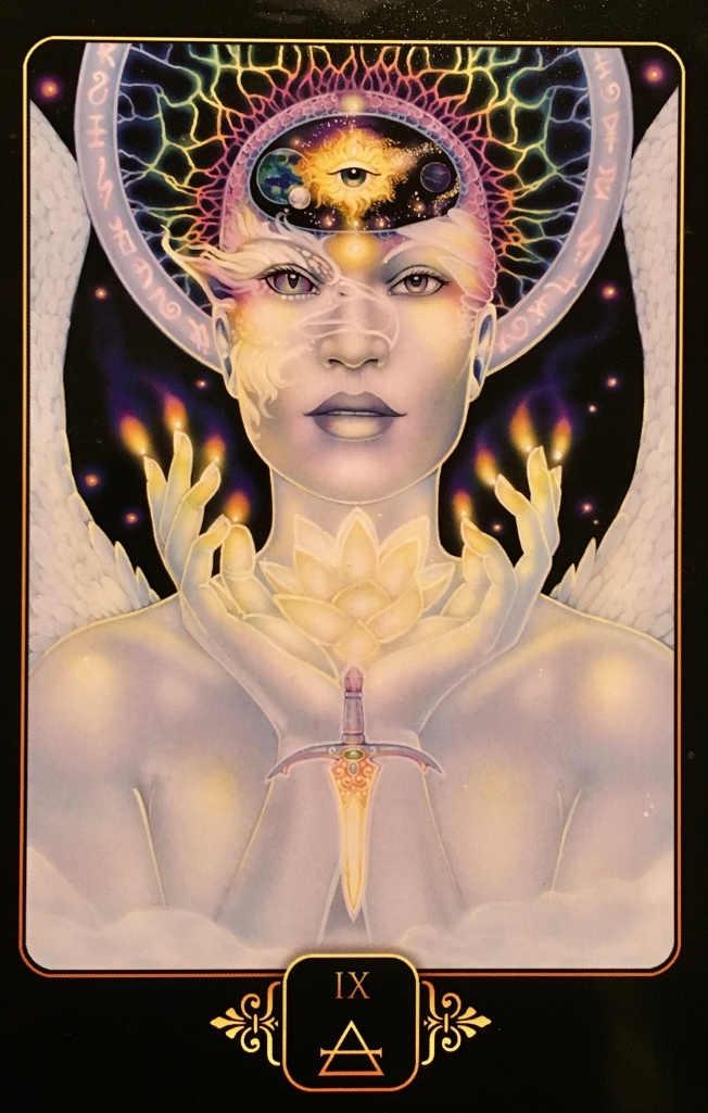 Nine Of Air, from the Dreams Of Gaia Oracle Card deck, by Ravynne Phelan