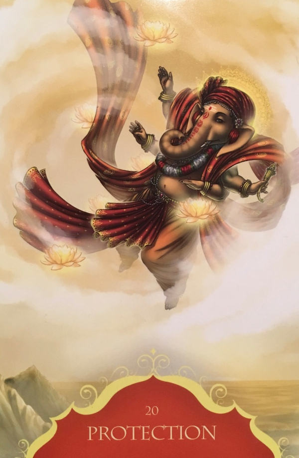 Protection, from the Whispers of Ganesha Oracle Card deck, by Angela Hartfield, artwork by Ekaterina Golovanova