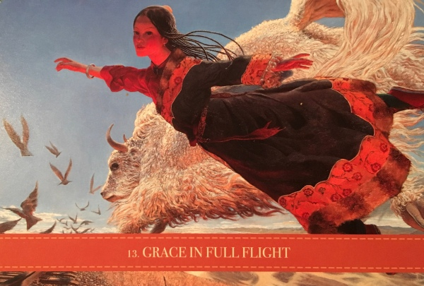 Grace In Full Flight, from the Wild Kuan Yin Oracle, by Alana Fairchild, Artwork by Wang Yiguang