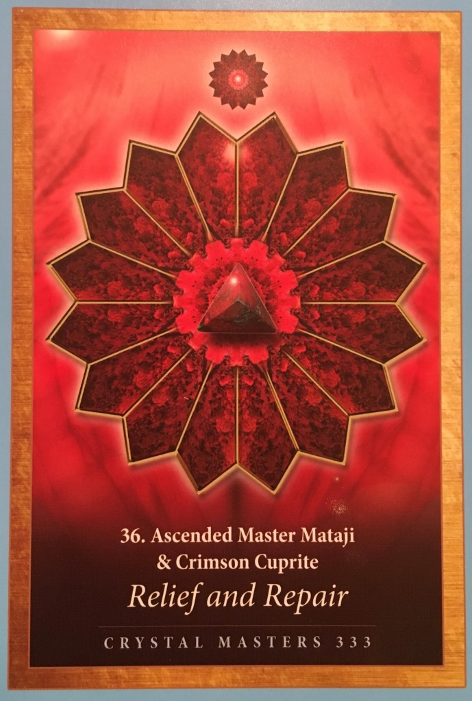 Ascended Master Mataji & Crimson Cuprite, from the Crystal Mandala Oracle, by Alana Fairchild artwork by Jane Marin