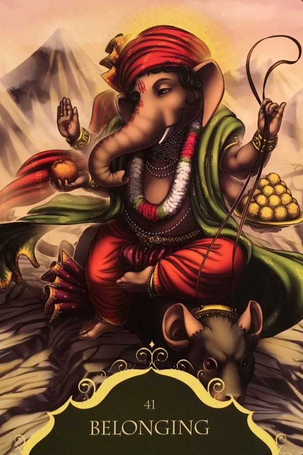 Belonging ~ Ganesha, from the Whispers Of Ganesha Oracle Card deck, by Angela Hartfield, artwork by Ekaterina Golovanova