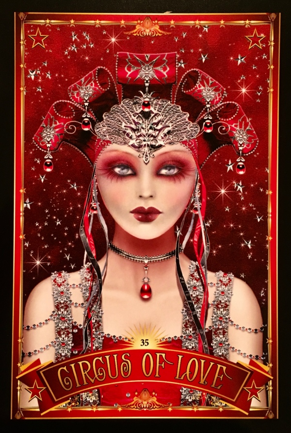 Circus Of Love, from the Divine Circus Oracle Card deck, by Alana Fairchild, artwork by Maxine Gadd