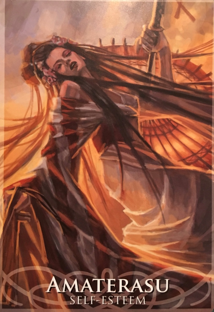 Amaterasu, from the Goddesses and Sirens Oracle Card deck, by Stacey Demarco artwork by Jimmy Manton