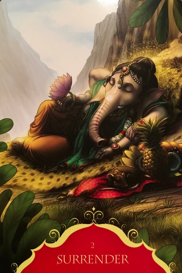 Surrender, from the Whispers of Lord Ganesha Oracle Card deck, by Angela Hartfield, Artwork by Ekaterina Golovanova