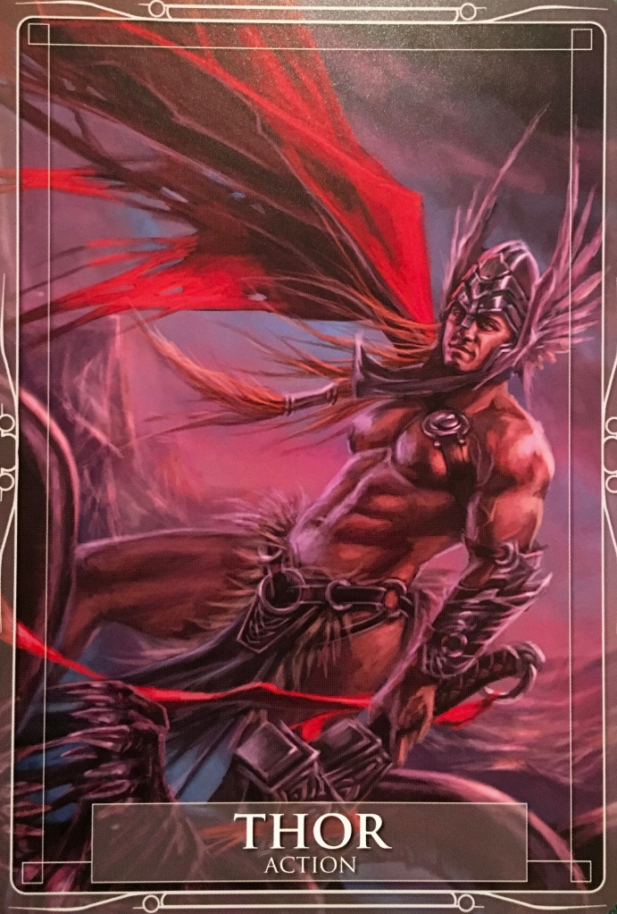 Thor, from the Gods and Titans Oracle Card deck, by Stacey Demarco, artwork by Jimmy Manton