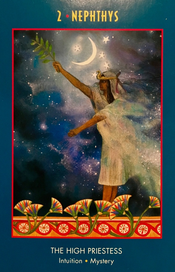 Nephthys, from The Anubis Oracle Card deck, by Nicki Scully and Linda Star Wolf, illustrated by Kris Waldherr
