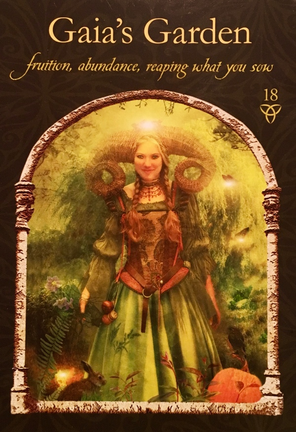 Gaia's Garden, from the Wisdom Of The Hidden Realms Oracle Card deck, by Colette Baron-Reid, Artwork by Jena DellaGrottalia