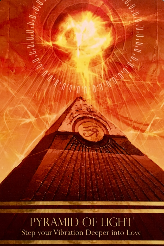Pyramid Of Light, from the Isis Oracle Card deck, by Alana Fairchild, Artwork by Jimmy Manton