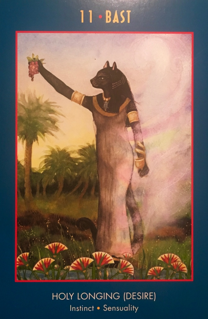 Bast, from the Anubis Oracle Card deck, by Nicki Scully and Linda Star Wolf, Illustrated by Kris Waldherr