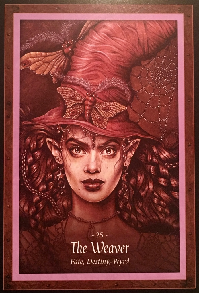 The Weaver, from the Faery Forest Oracle Card deck, by Lucy Cavendish