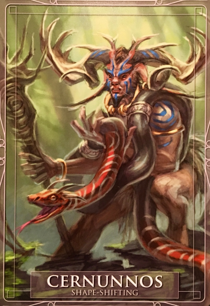 Cernunnos, from the Gods and Titans Oracle Card deck, by Stacey Demarco and Jimmy Manton