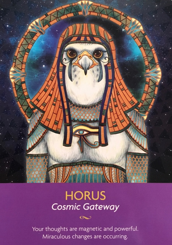 Horus, from the Keepers Of The Light Oracle Card deck, by Kyle Gray, Artwork by Lily Moses