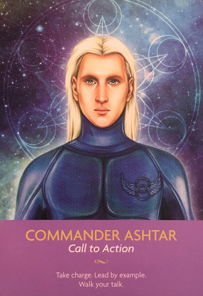 Commander Ashtar, from the Keepers Of The Light Oracle Card deck, by Kyle Gray, artwork by Lily Moses