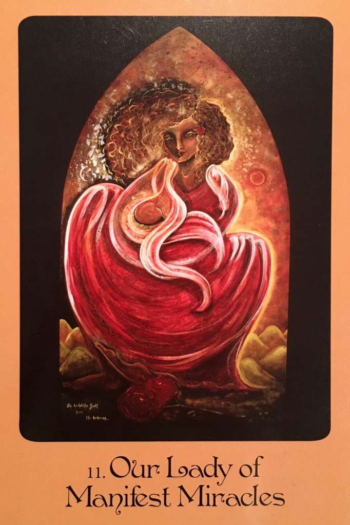 Our Lady Of Manifest Miracles, from the Mother Mary Oracle Card deck, by Alana Fairchild artwork by Shiloh Sophia McCloud