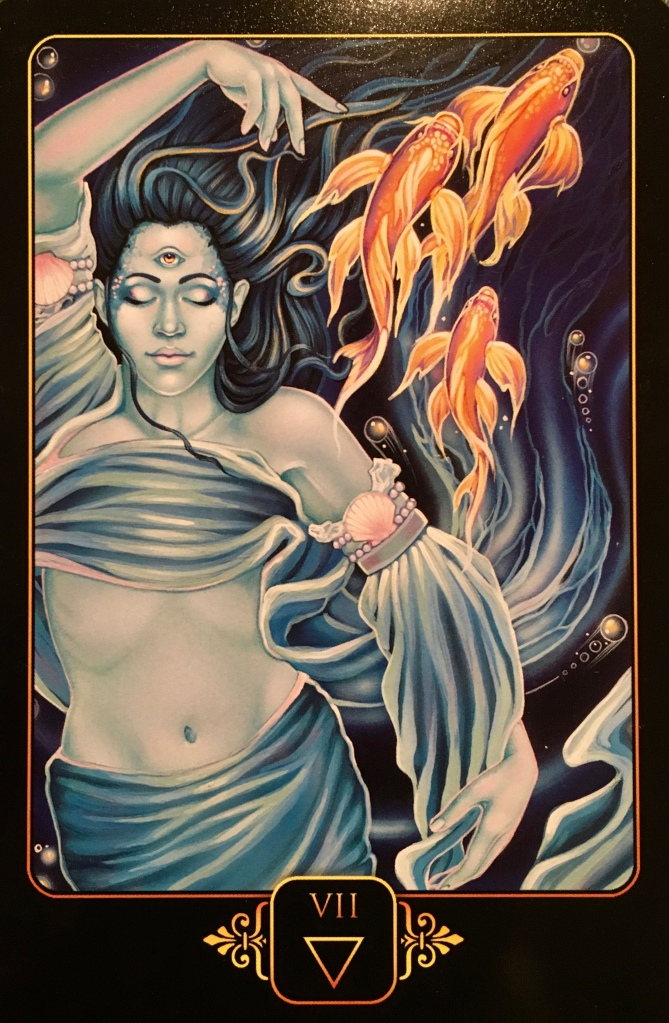 Seven Of Water, from the Dreams Of Gaia Oracle Card deck, by Ravynne Phelan