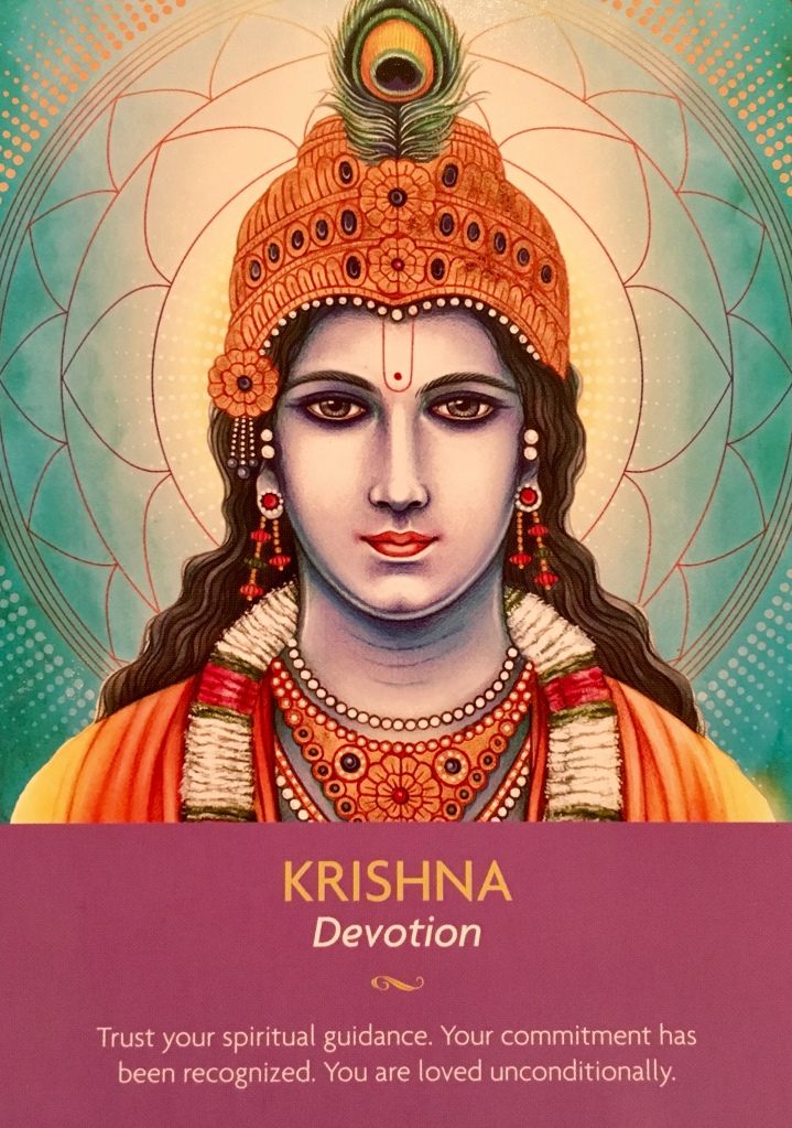 Krishna ~ Devotion, from the Keepers Of The Light Oracle Card deck, by Kyle Gray, artwork by Lily Moses