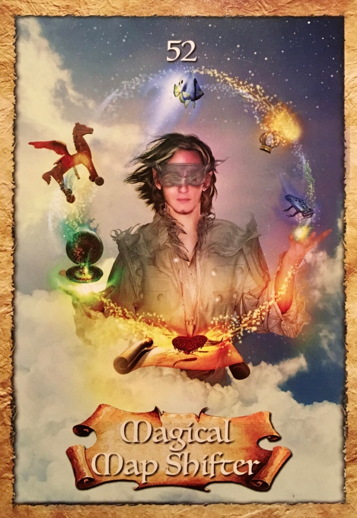 Magical Map Shifter, from The Enchanted Map Oracle Card deck, by Colette Baron-Reid, artwork by Jena DellaGrottaglia